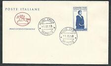 1958 ITALIA FDC CAVALLINO ELEONORA DUSE NO TIMBRO DI ARRIVO - KI16