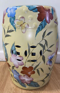"""Hand Painted Ceramic Garden Stool Yellow With Flowers 18""""Height Cylinder"""