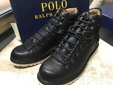 NIB Polo Ralph Lauren Men's WILLIS BOOTS  BLACK LEATHER SZ 12 D SMALL NICK LEFT
