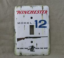 Winchester Model 12 Shotgun - Metal Light Switch Cover - New - Old Tin Sign Look