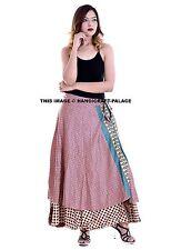 Silk Sari Wrap Around Free Size Vintage Boho Hippie Gypsie Long Colourful Skirt
