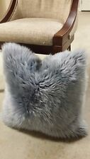 100% GENUINE SHEEPSKIN WOOL 18x18 SQUARE SILVER/GREY COLOR PILLOW CUSHION