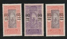 Dahomey 1922-25 Issue of 1913,17 surcharged - 3 Mh stamps.