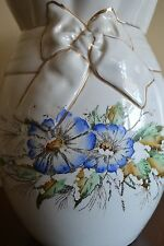 Antique Pitcher Jug Bow & Blue Flowers IRONSTONE WARRANTED Crazing Old Scalloped
