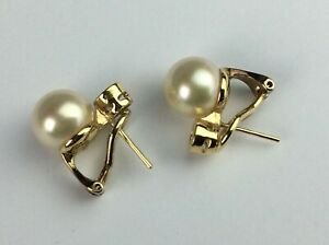 Yellow Gold and Cultured Pearl and Clear Stones Clip Earrings Ship Worldwide