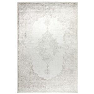 Kunstseide Teppich Vintage Ornament - Anthrazit & Silber - Modern Kurz Flor Edel