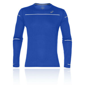 Asics Mens Lite-Show Long Sleeve Running Top Blue Sports Breathable Reflective