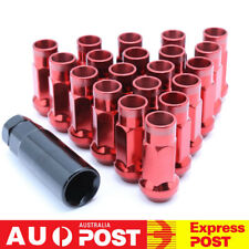 20PC Red Open Ended Steel Wheel Lug Nuts with Adapter M12x1.25 For Subaru Suzuki