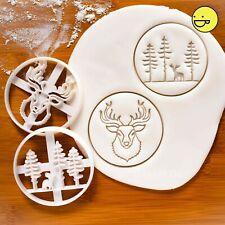 Stag Head & Forest cookie cutters | animal Christmas deer rustic hunt reindeer