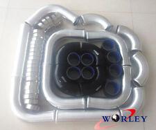 "2.5"" 64mm Universal Aluminum Intercooler Turbo Pipe piping Kit+Black Hose+Clamps"