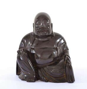 Old Chinese Dark Cherry Amber Bakelite Carved Carving Happy Buddha 964 Gram