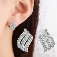 925 Sterling Silver CZ Cubic Zircon Angel Wings Ear Stud Earrings Jewellery Gift