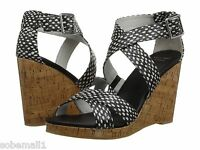 Cole Haan Jillian Black/White Dot Print Leather Wedge Sandals Size 9.5