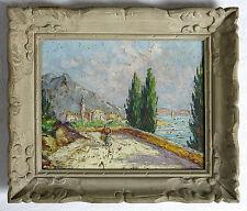 ROBERT GIOVANI,village, montagne, méditerranée,cadre montparnasse,TABLEAU ANCIEN