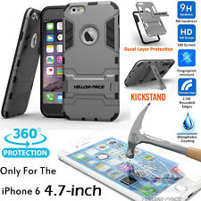 REAL Tempered Glass Screen For iPhone 6 6S Shockproof Slim Stand Armor Case Cove