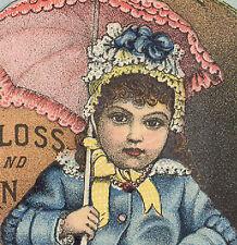 ELKHART IND TRADE CARD, MUZZY'S SUN GLOSS & CORN STARCH, PRETTY LITTLE GIRL K986