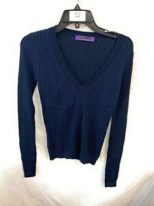 Women's Ralph Lauren Purple Label Navy V Neck Log Sleeve Sweater Small