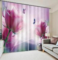 3D Blossom Pink Blockout Photo Curtain Printing Curtains Drapes Fabric Window AU