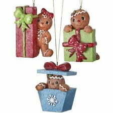 Gingerbread with Packages Ornaments 3 Assorted