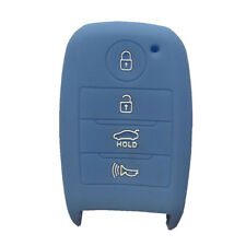 Sky Blue Silicone Key Cover Case Holder Chain Bag fit for Kia Smart 3 Button Key
