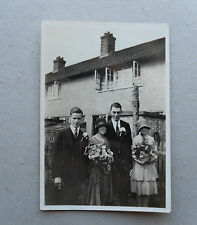 1920s B/W Photograph. Working Class Wedding Group outside Council House. Summer