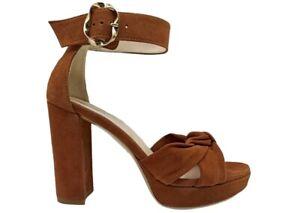 Sandali da donna Nero Giardini E115651D scarpe tacco alto comodo plateau cuoio