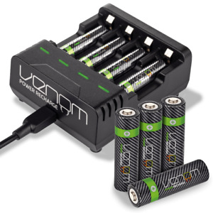 Rechargeable High Capacity AAA / AA Batteries and Charging Dock - Venom Power