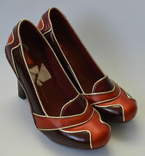 Mesdames j chaussures rouge bordeaux & orange vintage style chaussures cuir taille uk 7