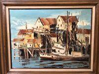 🔥 Antique Mid Century California Impressionist Oil Painting, Laguna - Beauvais