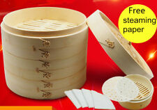 Bamboo Chinese Steamer Basket set  & steaming Paper 24cm buns Dumpling cooking