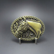 Bronze Plated Horse Head Rodeo Cowboy Western Metal Belt Buckle