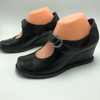 Anthropologie Everybody BZ Moda Womens Mary Jane Leather Wedge Heels Black 37 7
