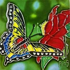 "Butterfly Red Flower Art Tile 4""x4"" Decorative Ceramic New Backsplash Sd-084"