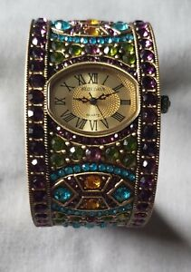 """HEIDI DAUS CUFF BRACELET WATCH MULTI COLORED CRYSTALS """"Divinely Deco"""""""