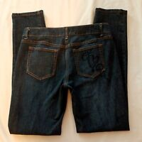 I Heart Ronson Jeans 6 Skinny Stretch Dark Wash Distressed Womens 31x32