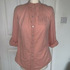 G-Star Raw Pink Cotton Collarless Roll Sleeve Blouse Shirt Small