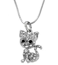 """Silver Tone Rhodium Plated Crystal Kitty Cat Pendant Necklace 17"""" Chain"""