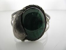 Sterling Silver Bracelet with Large Malachite