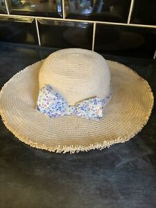 Monsoon Straw Natural Bow Floppy Hat 3-6 Years