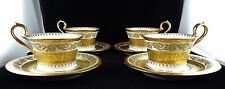 Four Ceralene Limoges Imperiale Gold Encrusted Napoleon Cup & Saucer Sets