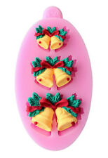 Christmas Bells 3 sizes Pink Silicone Mold for Chocolate, Fondant, Gum Paste,