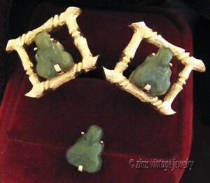 Vintage SWANK Karat Gold S mark carved Jade BUDDHA bamboo CUFFLINKS Tie Tac set