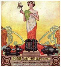 PUBBLICITA' 1914 MAGNETI MARELLI VENTILATORE POMPA MOTORE BANDIERA STROPPA