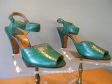Nos Vintage 40s 50s Vitality Green Sandals Pump Shoes Open Toe Ankle Straps 6Aaa