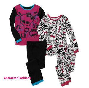 MONSTER HIGH 6 8 10 Girls Pjs PAJAMAS SLEEPWEAR Shirt Top Pants THERMAL