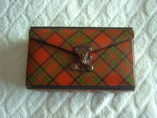 TARTAN WARE SEWING CASE - STUART - FRENCH CATCH [BREVETE SGDG] - SATIN & LEATHER