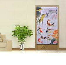 Classical Chinese Style Fish Lotus Knitting Door Curtain Room Feng Shui Decor