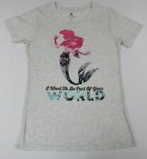 DISNEY - MERMAID - PART OF YOUR WORLD - SMALL - GRAY WOMEN'S T-SHIRTS- D599