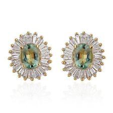 AA Boyaca Colombian Emerald, Diamond Earrings in Yellow Gold O/lay Silver 1.060