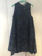 Victoria Beckham 2K Couture Navy Blue Flowers Mesh Silk Lined Baby Doll Dress 8